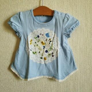 アコバ(Acoba)の新品紙タグ付き『acoba』のflowerプリントTシャツ 80 水色(Tシャツ)