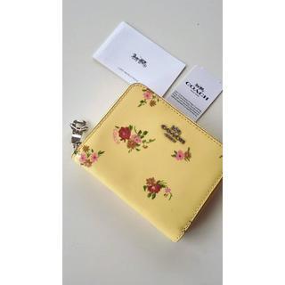 コーチ(COACH)のCOACH花柄コーチ折り畳み財布コンパクト二つ折りミニ黄色イエローピンク(財布)