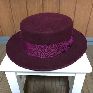 カシラ(CA4LA)のカシラCA4LA ウール ボルドーカンカン帽子ハット男女兼用(ハット)
