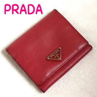 プラダ(PRADA)のPRADA プラダ 正規品 ロゴプレート 折り財布 レッド レディース(財布)