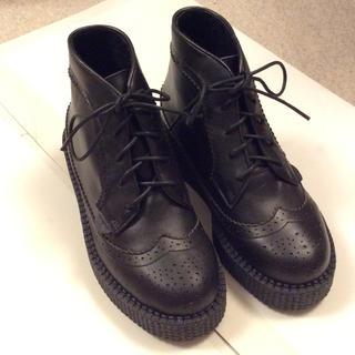 アンダーグラウンド(UNDERGROUND)のUNDERGROUND 厚底ショートブーツ ブラック 新品(ブーツ)