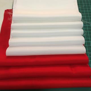 紅白羽二重8枚セット(生地/糸)
