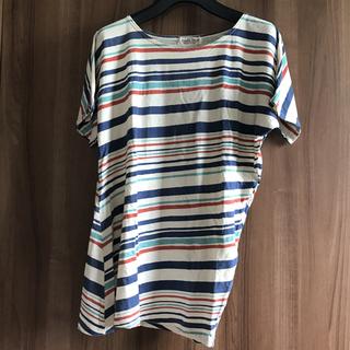 ダブルネーム(DOUBLE NAME)のアシンメトリー ボーダーTシャツ(Tシャツ(半袖/袖なし))