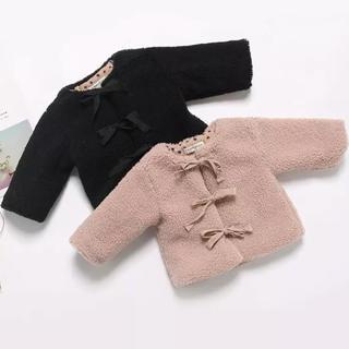 ザラキッズ(ZARA KIDS)のちぴぴ63さま専用 3連リボンもこもこアウター 韓国子供服(ジャケット/上着)