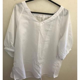 ムジルシリョウヒン(MUJI (無印良品))の無印良品コットンテンセル5分袖ブラウス(白)XS~S(シャツ/ブラウス(半袖/袖なし))