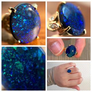 巨粒!指いっぱいに広がる地球の碧。ブラックオパールK18リング(リング(指輪))