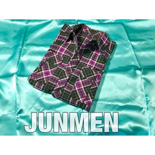 ジュンメン(JUNMEN)の中古美品 ジュンメン チェックシャツ パープル系 五分袖 ロールアップ 日本製(シャツ)