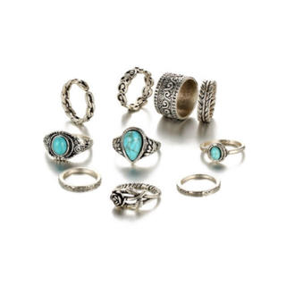 10個セット*アンティーク シルバーリング 指輪 ターコイズ ハート 薔薇(リング(指輪))