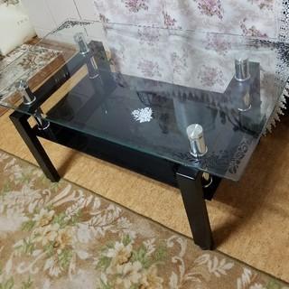 薔薇のステンシルのガラステーブル(ローテーブル)