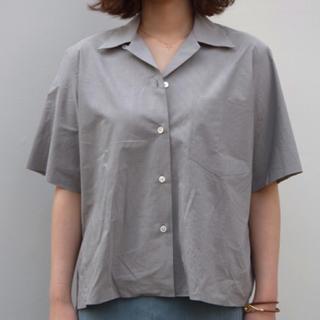 オーラリー  オープンカラーシャツ  グレーストライプ