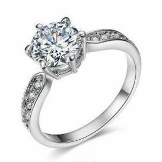 ホワイトゴールド★きらきら★CZダイヤリング★指輪 10号(リング(指輪))
