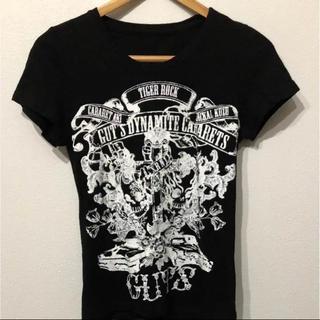 ガッツダイナマイトキャバレーズ(GUT'S DYNAMITE CABARETS)のTシャツ 黒 ブラック ドクロ 骸骨 ロック 日本プロレス(Tシャツ(半袖/袖なし))