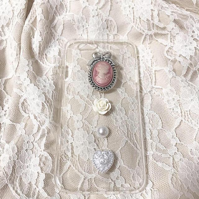 ピンクカメオiPhonecase ハンドメイドのスマホケース/アクセサリー(スマホケース)の商品写真