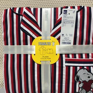 ジーユー(GU)のGUコットンパジャマ半袖ショートパンツスヌーピーストライプネイビーMサイズ(パジャマ)