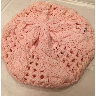 セシルマクビー(CECIL McBEE)のセシルマクビー 新品 ニット帽 ベビーピンク (ハンチング/ベレー帽)