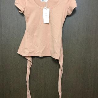 バックリボン 背中開き 半袖 Uネック 無地 ピンク Sサイズ(Tシャツ(半袖/袖なし))