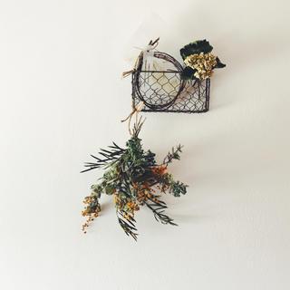 ミモザ のスワッグ & あじさいのレターラックの壁飾り(ドライフラワー)