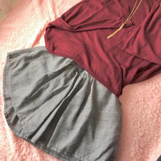 しまむら - 【美品】キュロット 千鳥柄&チェック柄 ショートパンツ スカート