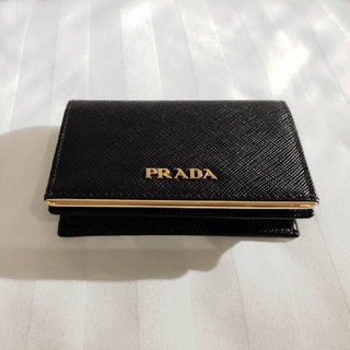 プラダ(PRADA)のPRADA SAFFIANO METAL カードケース 黒ブラック(名刺入れ/定期入れ)