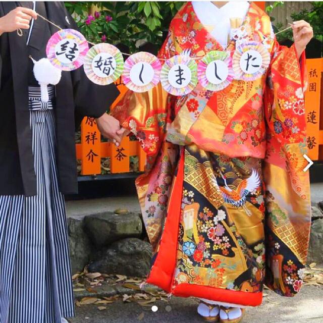 【2点セット】❤︎大人気❤︎和装ガーランド 赤い糸 ハンドメイドの生活雑貨(雑貨)の商品写真
