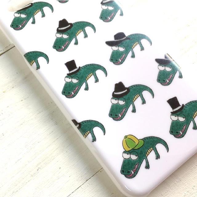 ワニ  グリーン  スマホケース  iPhone8  多機種対応 ハンドメイドのスマホケース/アクセサリー(スマホケース)の商品写真