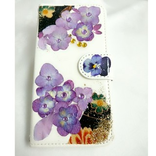 【手帳型】紫陽花押し花☆iPhoneケース(スマホケース)