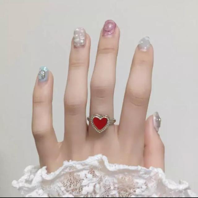 ヴィンテージ ハート リング 指輪 赤 ゆめかわいい シルバー アクセサリー ハンドメイドのアクセサリー(リング)の商品写真