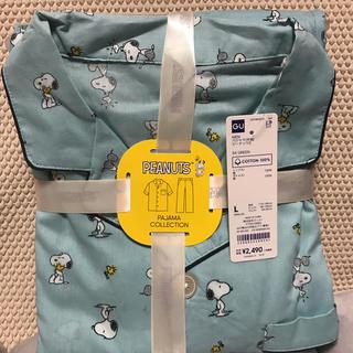 ジーユー(GU)のGUコットンパジャマメンズスヌーピー柄Lサイズブルー(パジャマ)