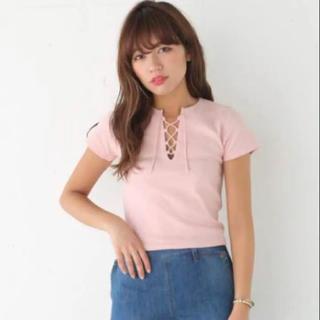 スライ(SLY)のSLY レースアップ テレコ Tシャツ 韓国(Tシャツ(半袖/袖なし))