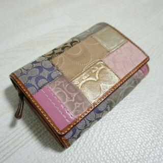 コーチ(COACH)のCOACH シグネチャー パッチワーク 二つ折り財布 (財布)