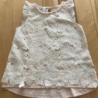 シマムラ(しまむら)のノースリーブ♡110センチ♡ホワイトレースベビーピンク(Tシャツ/カットソー)