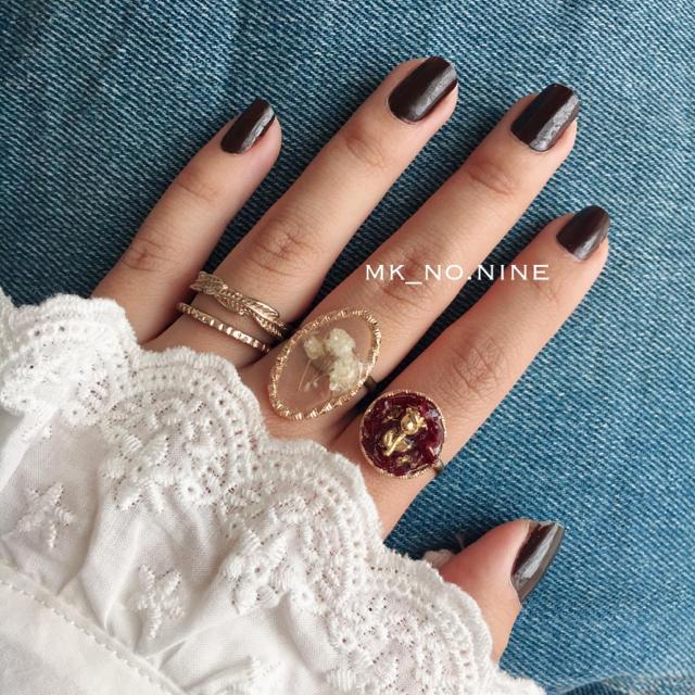 ワインレッド バラ ドライフラワー レジン リング 指輪 ハンドメイドのアクセサリー(リング)の商品写真
