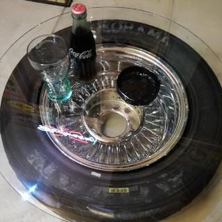 タイヤテーブル レーシング ガラス スリック 男前 ガレージに(ローテーブル)