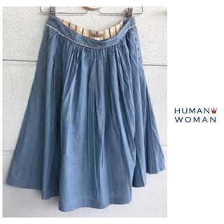ヒューマンウーマン ひざ下丈 製品洗い スカート ニコアンド SM2 無印良品