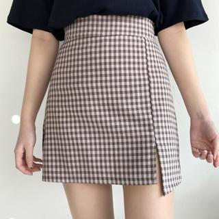 ピンクチェックタイトスカート