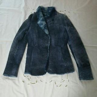 上質 本革 ブルーのムートンコート ジャケット(ムートンコート)
