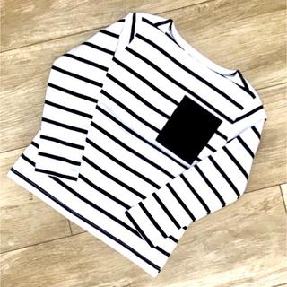 【韓国子供服】ポケット付きボーダーロンT(Tシャツ/カットソー)