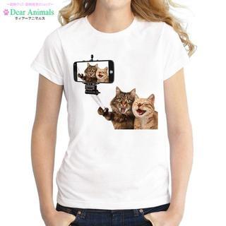 猫Tシャツ 猫シャツ XLサイズ 可愛い自画撮り猫ちゃん♪ 新品未使用品(猫)