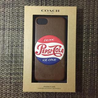 コーチ(COACH)のコーチ ペプシ ブラウン iPhone7・8 ケース(iPhoneケース)