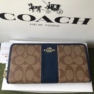 コーチ(COACH)のコーチ 長財布 COACH ラウンドファスナー C柄 ブルー(財布)