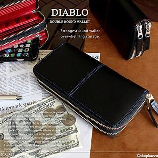 ディアブロ(Diavlo)のDIABLOディアブロダブルラウンドファスナー長財布ホースレザー馬革KA511青(長財布)