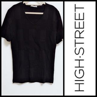 ハイストリート(HIGH STREET)のHIGH STREET*美品 Vネック半袖トップス(ニット/セーター)