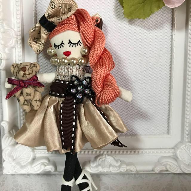 ルルベちゃんバックチャームドール    ベアちゃん ハンドメイドのファッション小物(バッグチャーム)の商品写真