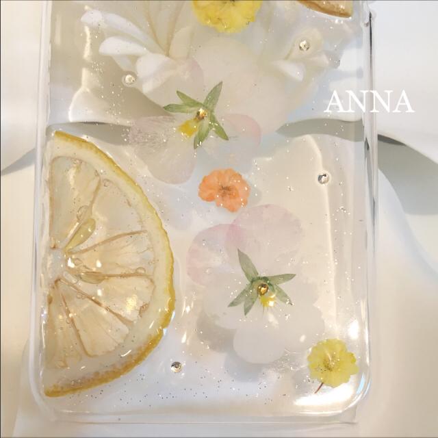 ひまり様 レモンティー 押し花 iPhoneケース Androidケース ハンドメイドのスマホケース/アクセサリー(スマホケース)の商品写真