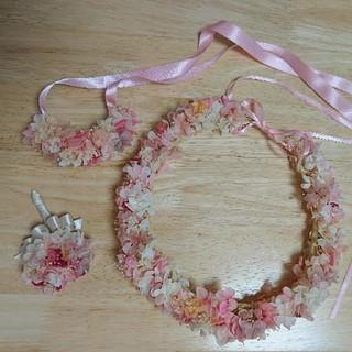 プリザーブドフラワー 花冠 リストレット ブートニア 3点セット(ヘッドドレス/ドレス)