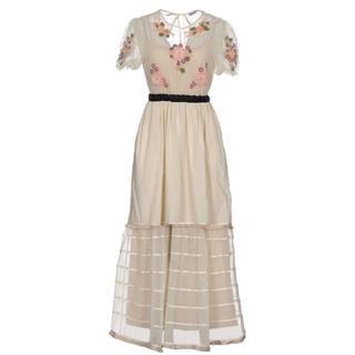 レッドヴァレンティノ(RED VALENTINO)の【新品】Redvalentino 刺繍 ビーズ ドレス 40(ロングワンピース/マキシワンピース)