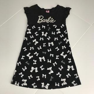 バービー(Barbie)のBarbie🎀リボン柄半袖ワンピース 黒(ワンピース)