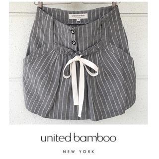 ユナイテッドバンブー(united bamboo)のユナイテッドバンブー 綿麻 ストライプ ミニスカート フラボア(ミニスカート)