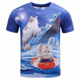猫Tシャツ 猫シャツ タイタニック猫ちゃん♪ XXLサイズ 新品未使用品(Tシャツ(半袖/袖なし))