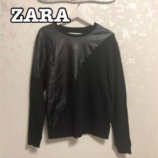 ザラ(ZARA)のZARA ザラ フェイクレザー 切替 スウェット トレーナー  異素材MIX(スウェット)